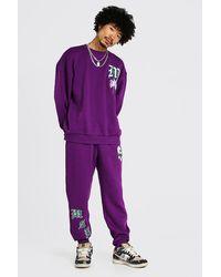 BoohooMAN Oversize Sweatshirt-Trainingsanzug mit M-Aufnäher und Totenkopf - Lila