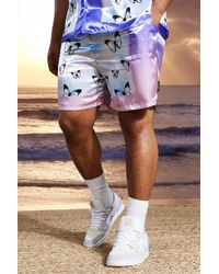 BoohooMAN Plus Mid Length Satin Butterfly Shorts - Blau