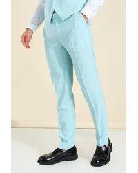 BoohooMAN Slim Anzughose aus Leinen - Blau
