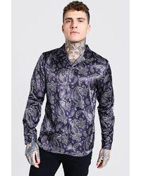 BoohooMAN Long Sleeve Revere Collar Paisley Satin Shirt - Black