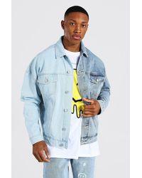 BoohooMAN Oversized Spliced Denim Jacket - Bleu