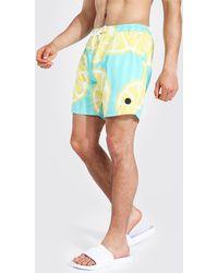 BoohooMAN Mittellange Badehose mit Zitronen Print - Grün