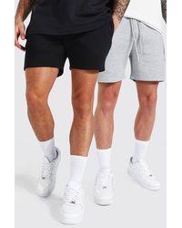 BoohooMAN 2er-Pack recycelte kurze Jersey-Shorts - Weiß