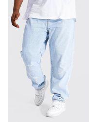 BoohooMAN Plus gerade Jeans mit Blitz-Detail - Blau