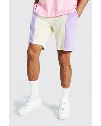 BoohooMAN Man Signature Velour Colorblock Shorts - Lila
