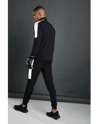 BoohooMAN Man Funnel Neck Tracksuit With Reflective Detail - Black