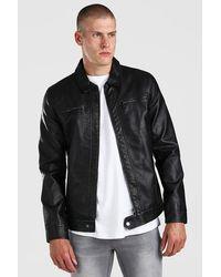 BoohooMAN Leather Look 2 Pocket Harrington - Black