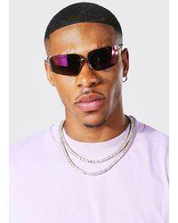 BoohooMAN Verspiegelte Metall-Sonnenbrille - Lila