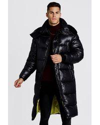 BoohooMAN Handgefüllte wattierte Longline-Jacken mit mattem Finish - Schwarz