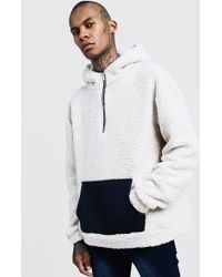 BoohooMAN - Oversized Borg Hoodie With Contrast Pocket - Lyst