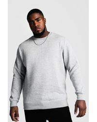 BoohooMAN Plus Size Basic Jumper - Grey