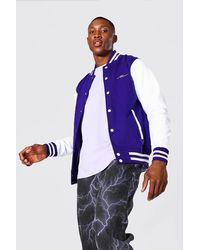 BoohooMAN Man Signature Jersey Varsity Bomber Jacket - Violet