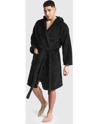 BoohooMAN Fleece Hooded Dressing Gown - Black