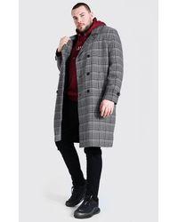 BoohooMAN Big & Tall Zweireihiger Mantel mit Gitterkaros - Grau