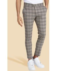 BoohooMAN Super Skinny Check Suit Trouser - Braun