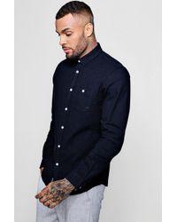 Boohoo - Linen Cotton Blend Long Sleeve Shirt - Lyst