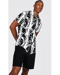 BoohooMAN Short Sleeve Viscose Baroque Print Shirt - Black