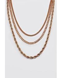 BoohooMAN Gold Plain 3 Layer Necklace - Metallic