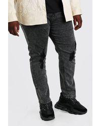 BoohooMAN Big And Tall Skinny Fit Jeans mit Acid-Waschung - Grau
