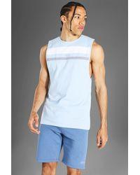 BoohooMAN Tall Man Active Colour Block Panel Vest - Blau
