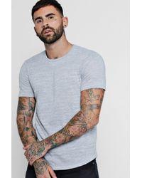 Boohoo Knitted Marl Tee With Curved Hem - Grey