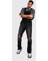 BoohooMAN Slim Fit Long Overall With Popper Hem - Black