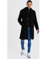 BoohooMAN Tall Summer Wool Overcoat - Schwarz