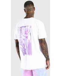 BoohooMAN Oversized Rose Drip Back Print T-shirt - White