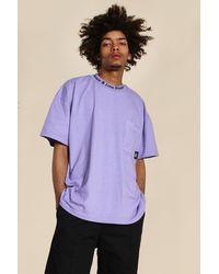 BoohooMAN Oversized Worldwide High Neck Washed T-shirt - Lila