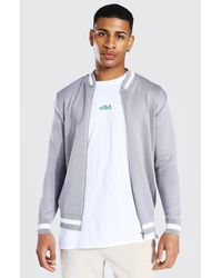 BoohooMAN Smart Striped Rib Knitted Bomber - Gris