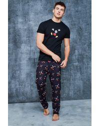 Boohoo Disney Pajama Set In Mickey Print - Black