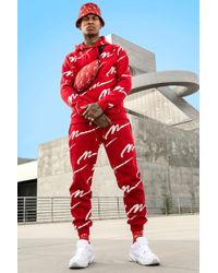 BoohooMAN All Over Man Print Hooded Tracksuit - Red