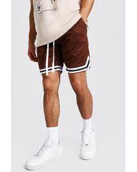 BoohooMAN Mesh Basketball Shorts With Tape - Braun