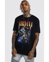 BoohooMAN Oversized Nirvana Print T-shirt - Black