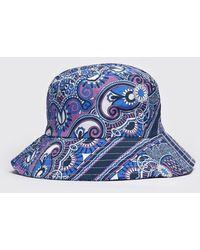 BoohooMAN Floral Print Bucket Hat - Blue