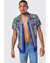 BoohooMAN Tall Short Sleeve Baroque Print Shirt - Bleu