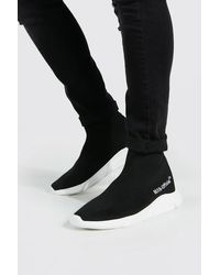 BoohooMAN Official Man Knitted Sock Boot - Black