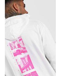 """BoohooMAN Hoodie in Übergröße mit """"New York""""-Fotoprint auf dem Rücken - Weiß"""