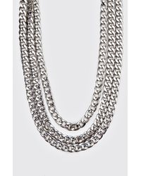 BoohooMAN Triple Layer Chain - Metallic