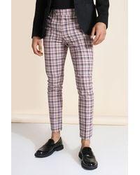 BoohooMAN Super Skinny Beige Check Trouser - Natural