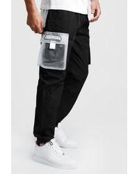 BoohooMAN Man Cargo Vinyl Pocket Detail Pants - Black