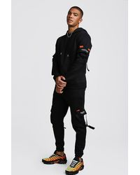 BoohooMAN Man Official Utility Hooded Tracksuit With Buckles - Black