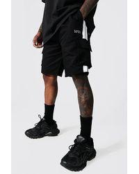 BoohooMAN Man Cargo-Shorts mit Seitenstreifen - Schwarz