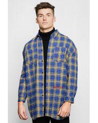 Boohoo - Blue Check Oversized Longline Shirt - Lyst