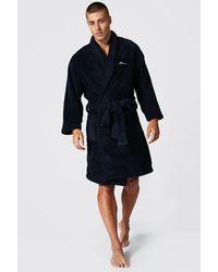BoohooMAN Man Signature Fleece Dressing Gown - Blue