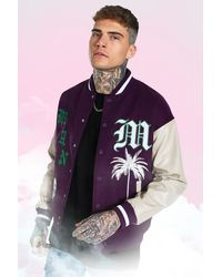BoohooMAN Knitted Collar Varisty Bomber - Purple
