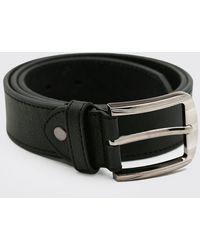 BoohooMAN Split Leather Textured Belt - Black