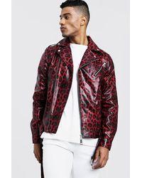 BoohooMAN Faux Leather Biker Jacket In Leopard Print - Red