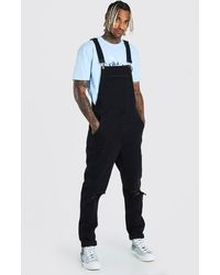BoohooMAN Slim Denim Overalls With Busted Knees - Black