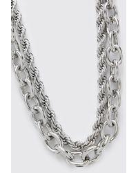 BoohooMAN Chunky Double Layer Chain - Gray